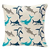 YGGQF Throw Pillow Covers Pillowcase Geometric Sharks Silhouettes Elegant with Abstract Symbols Design Manufacturing Marine Throw Pillow Case Decorative Cushion Cover Sofa Bed 18 x 18 Inch