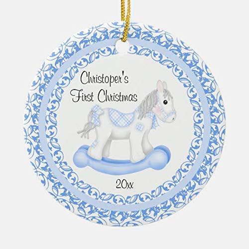 McC538arthy Personalized Baby Ornament Rocking Horse Boy Baby's First Christmas Ceramic Ornaments New Baby Keepsake Newborn 3''