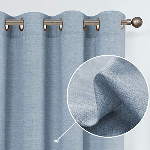 jinchan Linen Textured Curtains for Living Room Grommet Top Window Treatment Set for Bedroom 2 Panels 84 inches Long Blue
