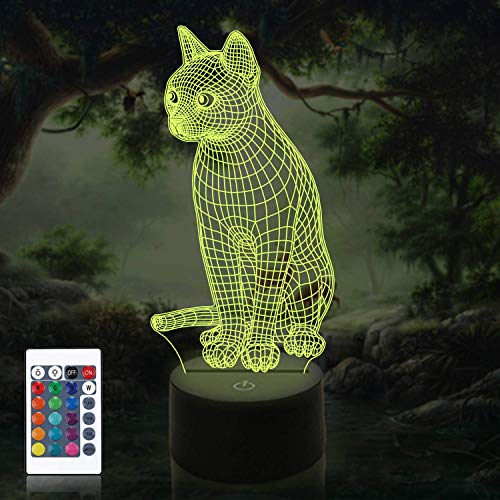 Creative 3D Cat Night Light USB Powered Remote Control Decor Table Optical Illusion Lamps 7/16 Color Changing Lights LED Table Lamp Xmas Home Love Brithday Children Kids Gift Toy