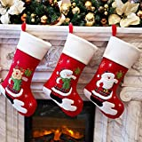 Bstaofy Wewill Red Traditional Christmas Stockings Set of 3 Santa Reindeer Snowman with Snowflake Christmas Party Gift, 18 inch