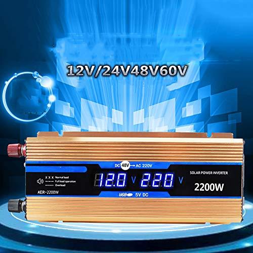 QJJML Kfz Wechselrichter,Ective Wechselrichter,GeräUschloser LüFter,Hochleistungsboard,UnabhäNgiger Netzschalter,Multifunktionssteckdose,Mobiler Solar-Smart-Wechselrichter,12V-1200W