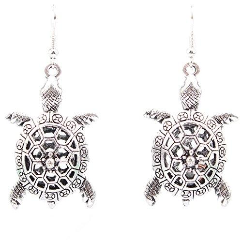Retro Ethnischen Silber Schildkröte Ohrringe Zart Geschnitzt Hohlen Modeschmuck