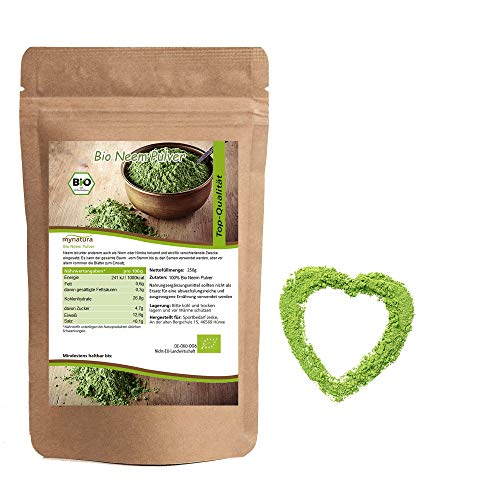 Mynatura Bio Neem Pulver I Neempulver I Auch Niem oder Nimba genannt I Pflanzlich I Nahrungsergänzung I Naturprodukt I Für Vegetarier und Veganer geeignet (1 x 250g)