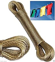 ELV 10 Meter PVC Coated Steel Anti-Rust Wire Rope Washing Line Clothesline with 2 Plastic Hooks (Gold Colour)