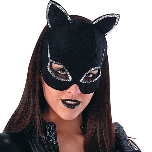 Masque Cat Woman Noir Strass Chat - Deguisement Halloween Accessoire - 014