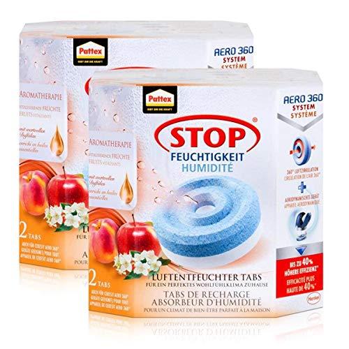 Henkel Pattex Stop Feuchtigkeit Aero 360° Luftentfeuchter Nachfüllpack 2x450g Früchteduft-Tabs - Vorbeugend gegen Feuchtigkeit, schlechte Gerüche und Schimmel (2er Pack)