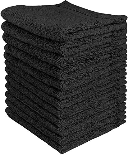 Utopia Towels - Premium Washcloths Set (12 x 12 Inches, Black) - 600 GSM 100% Cotton Flannel Face Cloths, Highly Absorbent and Soft Feel Fingertip Towels (12-Pack)