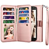 NJJEX for Moto X4 Wallet Case, for 2017 Motorola Moto X 4th Generation Flip Cover, PU Leather [9 Card Slots] Credit Card Holder [Detachable] [Kickstand] Case & Wrist Lanyard for Moto X4 -Rose Gold
