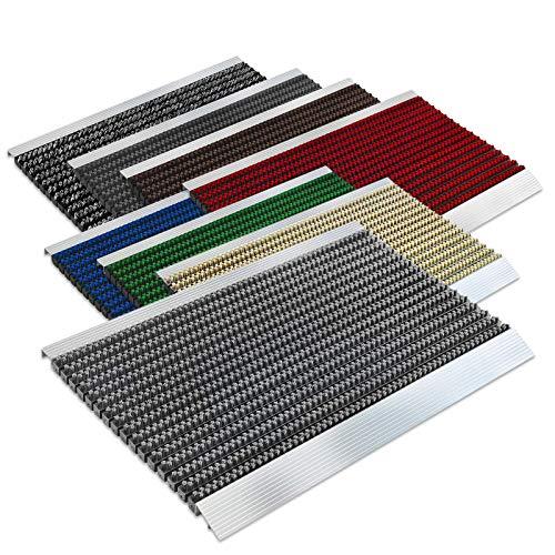 Floordirekt PRO Repräsentative Fußmatte Profi Brush - Testurteil Sehr Gut - Schmutzfangmatte mit Alu Rahmen für außen und innen - Verschiedene Bürsten Farben und Größen (40x60cm Grau)