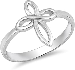 Infinity Love Knot Cross Christian Ring New .925 Sterling Silver Band Sizes 5-10
