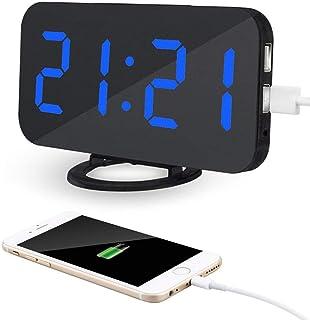 AITOO 電子時計 目覚まし時計 置き時計 アラーム時計 大型LED ミラー表面デザイン 卓上 壁掛け両用 デジタル おしゃれ 小型led時計 三段輝度調節 鏡用アラーム用 USBポート付き スマホ充電 (黒・青字)