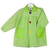 Klottz - babi cuadros guardería bata escolar con botones y amplio colorido. Protección ropa en comedores y manulidades en casa. Niñas color: pistacho talla: 5