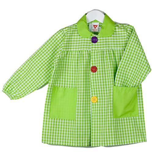 KLOTTZ 901B - Babi cuadros guardería Bata escolar con botones y amplio colorido. Protección ropa en comedores y manulidades en casa. Niñas color: PISTACHO talla: 2