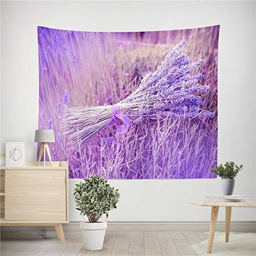 Tapiz de flores de lavanda estampado de lavanda tela de pared decorativa Mandala tapiz para colgar en la pared tela de fondo A8 73x95cm