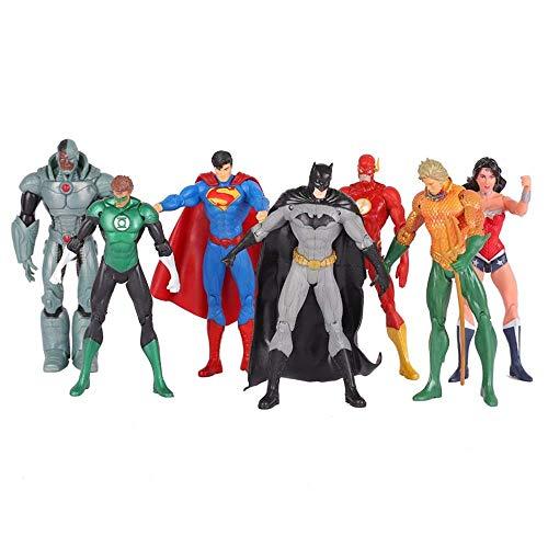 FHMHJH 7 League Heroes-Spielzeugset, 6-Zoll-Spiderman, Grüne Laterne, Batman, Maschinenmensch, Blitz, Scharlachrote Hexe, Action-Aquaman (mit Einem Gefühl Von Aktivität) - Insgesamt Sieben Spielzeug