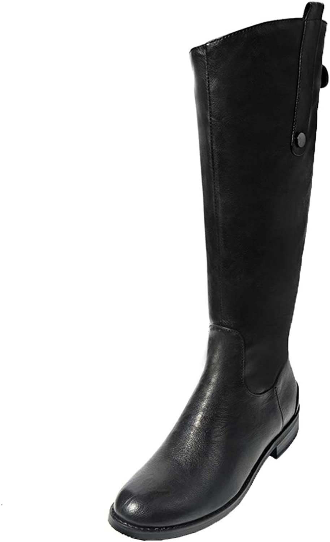 Vitalo Womens Low Heel Wide Calf Knee High Zip up Ladies Horse Riding Boots
