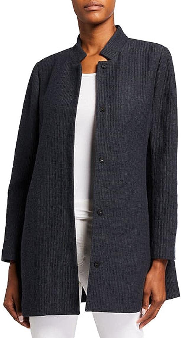 Eileen Fisher Plus Slate Tencel Blend Stand Collar Long Jacket Size 1X MSRP $348