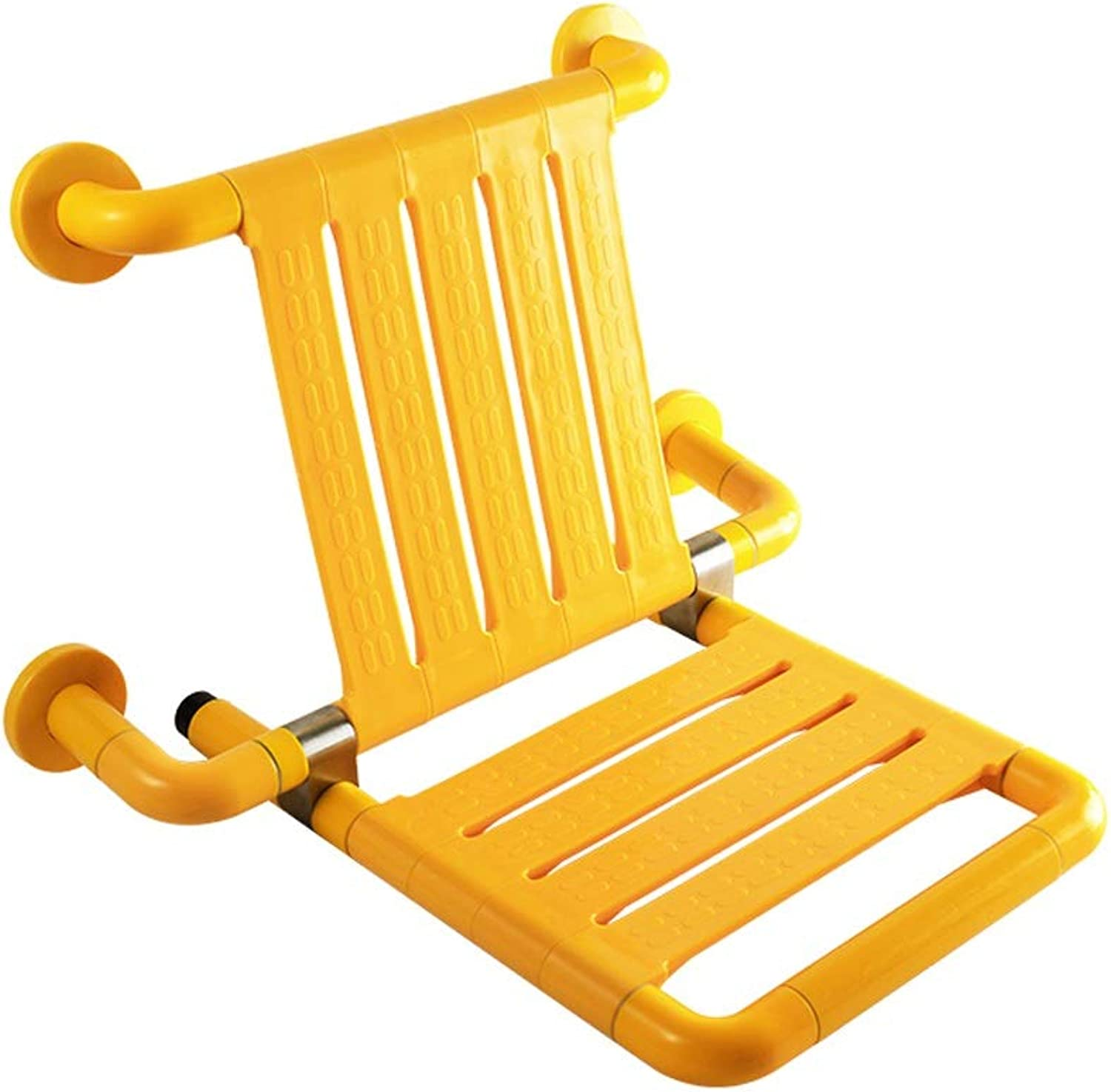 KTYXDE Wall-Mounted Seat Shower Room Door Wear shoes Maternity Room Dressing Room Bathroom Folding Stool Bathroom Chairs (color   Yellow, Size   500mm460mm)