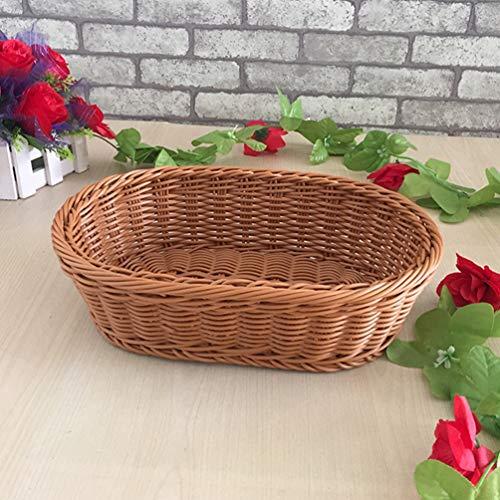 Garneck Imitated Rattan Woven Basket Oval Fruit Bread Basket Household Desktop Organizer Storage Basket