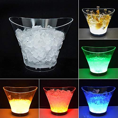Seau à Glace à LED à Changement de Couleur Acrylique - glacière pour Boissons Barre à bière Seau à Glace Champagne Vin Beer Seau à bière pour KTV Party Bar Home Mariage 6L