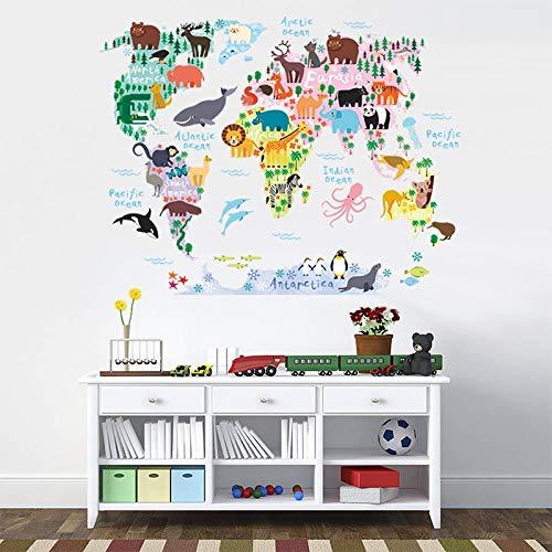 Vinilo mapa del mundo continente con detalles animales para pared o cristal aprender geografia jugando guarderias clinicas infantiles colegios regalo 90 x 70 cm de CHIPYHOME