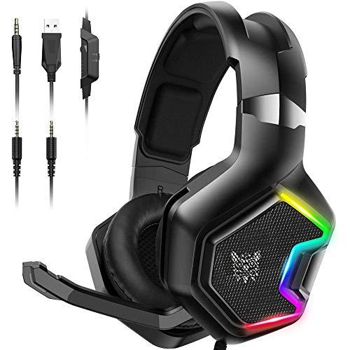 Onikuma Audifonos Gamer con microfono para Xbox One, PS4, PC, Nintendo Switch, Tablets, Gaming Headset con 7.1 Surround Sound,...