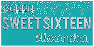 Sweet Sixteen 16 Teal and Silver Birthday Banner Personalized Party Backdrop