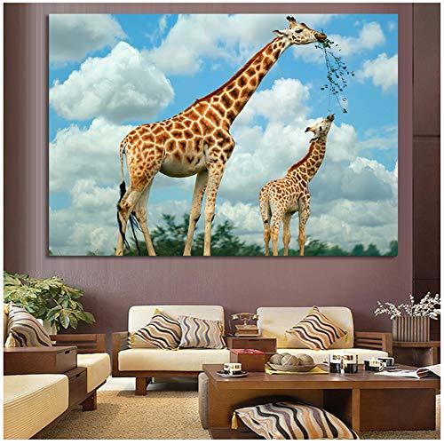 yhyxll Blue Sky Family African Giraffe Raumdekor Gemälde für Wohnzimmer Wandkunst Leinwand Bilder für Wohnzimmer Home Decor-60x90cm No Frame