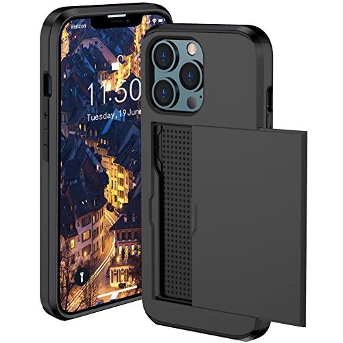 Carcasa ultrafina para iPhone 13 Pro [tarjetero] aleación de aluminio resistente a los golpes carcasa carcasa carcasa para iPhone 13 Pro funda de teléfono móvil (negro)