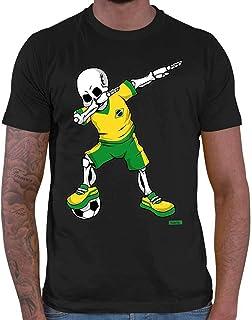 Hariz - Camiseta de fútbol para hombre, diseño de esqueleto de Brasil