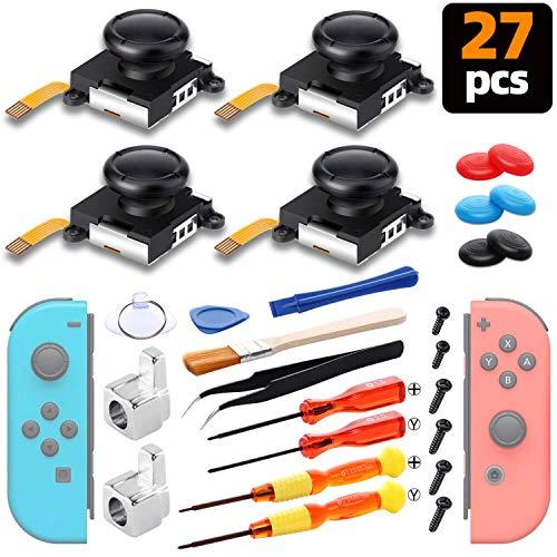 Recambios de Joystick Analógico, Herramientas de Reparación Profesional 4 Joystick de reemplazo para Nintendo Switch Joy-Con, 2 hebillas de metal , 2 Destornilladores, 6 tapas de pulgar