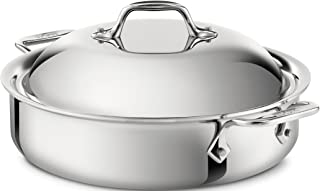 All-Clad 440418 Stainless Steel 3-Ply Bonded Dishwasher Safe Sauteuse with Domed Lid Cookware, 4-Quart, Silver