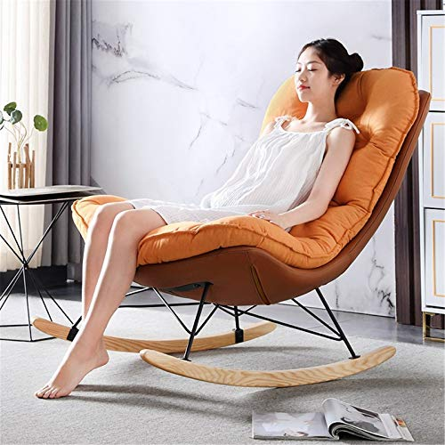 WanuigH Rocking Chairs Nordic Rocking Chair Household Recliner Rocking Chair Adult Bedroom Balcony Leisure Lazy Living Room Sofa Chair Comfortable Sitting Position (Color : Orange, Size : 95x90x95cm)