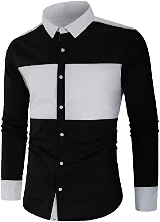 Lapel Stitching Long-Sleeved Men'S Shirts Button Slim Fit Large Size Work Golf Leisure Needle Autumn Casual Buttons Round Tops Blouse