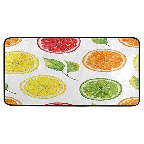 Acuarela Limón Fruits Alfombra de cocina Alfombra de baño Naranja Frutas Alfombra de baño Confort Alfombrilla antideslizante para baño interior 39 x 20 pulgadas