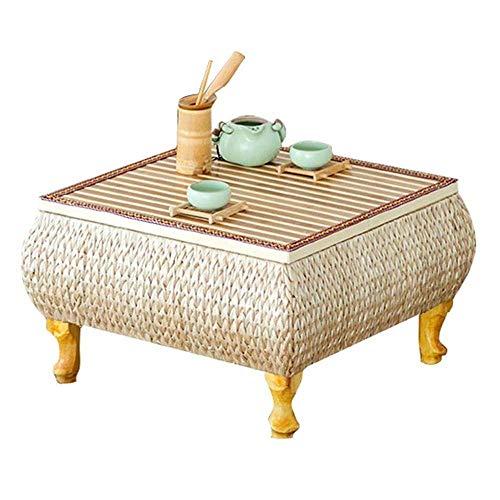 Kaidanwang Hermosamente Mesilla Tabla Final Mesa de Estilo japonés pequeña Sala de Estar Mesa de Comedor Mesa de Ordenador en la Cama (Color: Beige, tamaño: 55 * 55 * 30 cm) (Size : XXL)