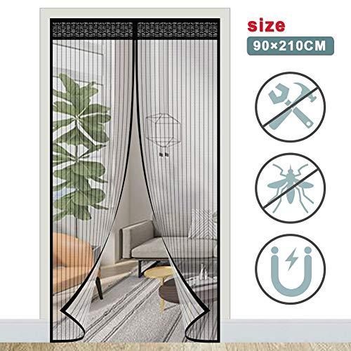 ACTOPP Fliegengitter Balkontür Magnet Fliegengitter Tür Insektenschutz Fliegenvorhang 90 x 210 mit 28 Stück Magneten Magnetvorhang für Wohnzimmer Terrassentür Kinderleichte Klebemontage Ohne Bohren