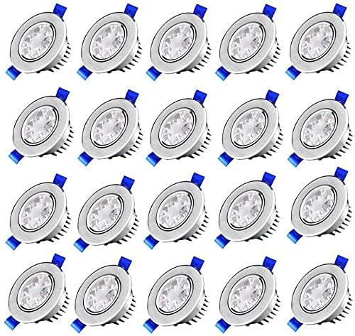 CJDM Lámpara empotrable de Techo LED de 3W, Paquete de 20 Luces empotradas LED Coolwhite 6000K-6500K, lámpara de Foco empotrable Redonda, 80 x 30 mm