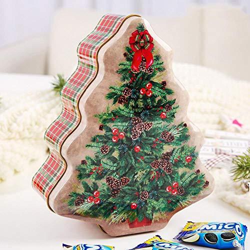 Brownrolly Kerstmis blikken doos snoep cadeaubox draagbare kerstboomvormige koekjes snoep voorraaddoos met deksel decoratie opbergdoos organizer voor kinderen aantrekkelijk