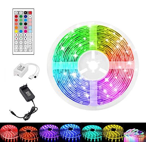 SHENXI Tiras LED 5M,Luces LED RGB con Control Remoto y 44 Botones,LED Strip Light Luz banda de 34 Colores y 6 DIY Modos de Escena para la Habitación,Techo,Hogar TV,Bar,Fiesta,12V Divisible