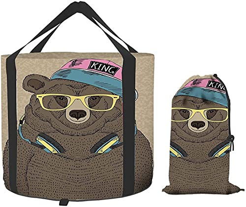 Bear Collapsible Bucket, Hipster Fancy Animal Headphones Cute Cap Yellow gafas portátil Folding Water Container for Camping Hiking Fishing