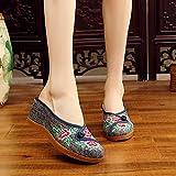 RHH Shop Hecho a Mano para Mujer Denim Bordado Cerrar Toe Wedge Mules Slippers Med Heel Ladies Comfort Cotton Platform Zapatos (Color : Navy, Size : 38 EU)