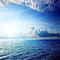 モダンでシンプルな青い空と白い雲海の自然風景天井壁画壁紙リビングルームレストラン家の装飾3D-200x140cm