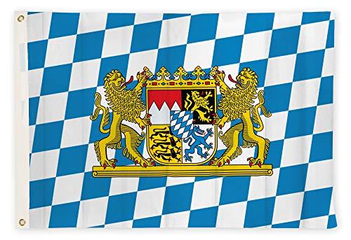 Aricona Bayern Flagge - Freistaat Bayern Fahne 90 x 150 cm mit Messing-Ösen - Wetterfeste Fahne für Fahnenmast - 100% Polyester