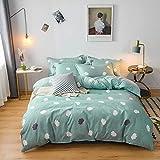 BH-JJSMGS Gesteppte, gepolsterte Bettwäsche aus Reiner Baumwolle, bedruckter Bettbezug und Kissenbezug, Grün 180 * 220 cm