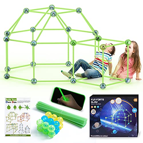 150 Pcs Glow Fort Building Kits for Kids, Creative...