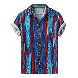 Topkal - Camisa hawaiana para hombre, manga corta azul XXXL