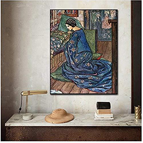 Canvas print,Canvas Gedrukt Schilderij Muur Kunstwerk Middeleeuwse Vrouwen Posters Modulaire Foto Woonkamer Abstract Nordic Woondecoratie-60x80cm