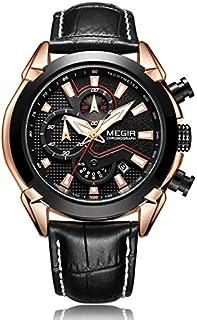 ميجير ساعة يد رجالية انالوج بعقارب ، جلد ،ML2065GRE-BK-1N0